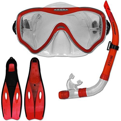 TW24 Tauchset Dunlop mit Farb- und Größenauswahl - Schnorchel Set - Tauchermaske - Schnorchel - Schwimmflossen (Rot, 40-42)