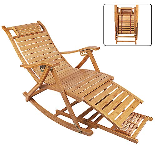 Ukmaster Loungers Deck Chair Wood Foldable Recliner Sturdy Comfortable Bamboo Rocking Chair Ergonomic Design High Back Chaise Garden Outdoor Sun lounger with Footrest Patio Pool Sauna Sunbed