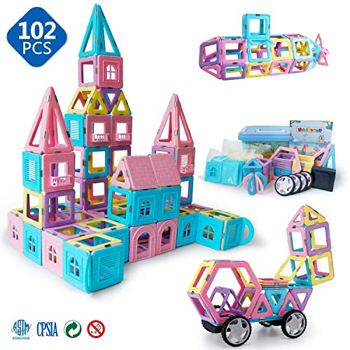 Magnetic Toys for Kids Toddlers Magnetic Tiles Magnetic Castle Blocks Preschool Magnet Toys Set 102 Pieces.