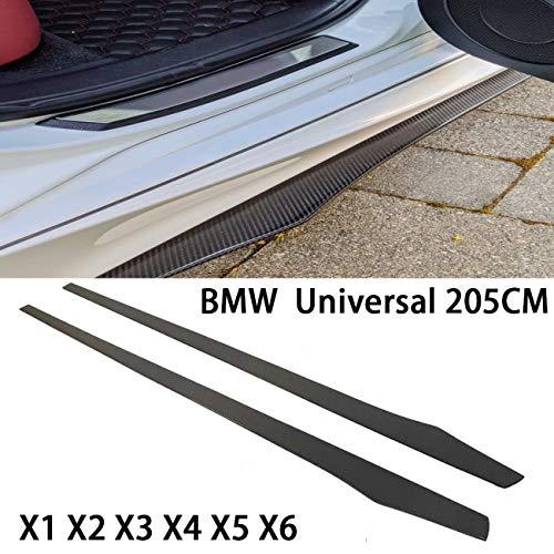 QCCQ Le minigonne Laterali per Auto Sono Adatte per BMW X1 X2 X3 X4 X5 X6 Universale 205 cm Nero Fibra di Carbonio CF Pedane Laterali Tutti Gli Anni Sottoporta Minigonne