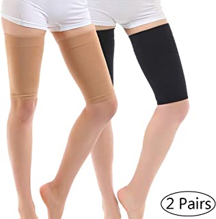 Thigh Compression Sleeve, Thigh Slimmer for Women Weight Loss, Elastic Upper Thighs Support Trimmers Slimming Shaper Wrap Helps Calories Fat Burning (2 Pairs) (Beige + Black)