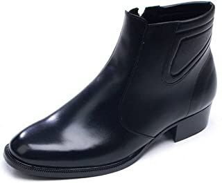 Men's Black Leather Dress Formal Casual Shoes Zip Ankle Boots