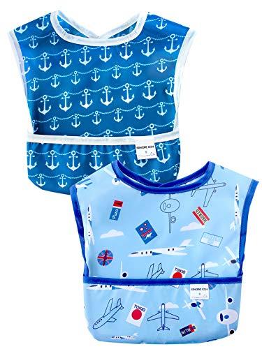 Sincere Baby baberos de inicio, impermeables, lavables y resistentes a las manchas y los olores, fácil de limpiar con bolsillo (6 a 36 m), paquete de 2 (liso y ancla/S)