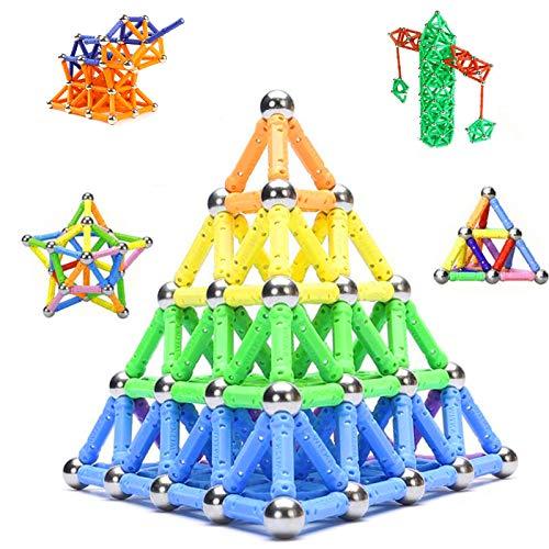 Morkka Palos magnéticos, Palos magnéticos y Bolas Set 136PCS, Palos de construcción magnéticos, Juguetes magnéticos de construcción, Juguetes magnéticos Palos Juguetes educativos para niños