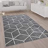 Paco Home Teppich Wohnzimmer Kurzflor Moderner Skandinavischer Stil Rauten Muster Grau Weiß, Grösse:240x320 cm, Farbe:Grau