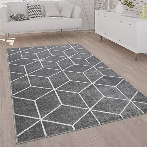 Paco Home Teppich Wohnzimmer Kurzflor Moderner Skandinavischer Stil Rauten Muster Grau Weiß, Grösse:160x220 cm, Farbe:Grau