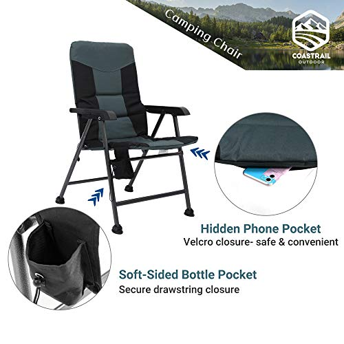 Coastrail Outdoor Premium Camping Chair Folding Design Thick Padding and Lumbar Back Support High Back Comfort and Steel Frame for Heavy Duty Camp Chair Holds 400 lbs. for Patio Porch Lawn Van