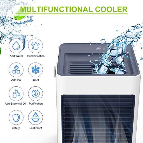 Verdunstungskühler Luftkühler,TedGem Verdunstungskühler Mini,Klimagerät Wasserkühlung Mobil,Verdunstungskühler USB 3 in1Luftbefeuchter,Aromamaschine,Ventilator für Zuhause und Büro (Weiß)