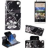 K-S-Trade Schutzhülle Für HTC Desire 620G Dual SIM Hülle 360° Wallet Hülle Schutz Hülle ''Flowers'' Smartphone Flip Cover Flipstyle Tasche Handyhülle Schwarz-weiß 1x