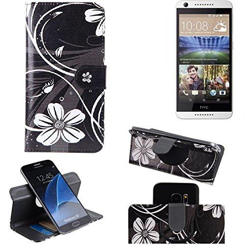 K-S-Trade Schutzhülle Kompatibel Mit HTC Desire 620G Dual SIM Hülle 360° Wallet Case Schutz Hülle ''Flowers'' Smartphone Flip Cover Flipstyle Tasche Handyhülle Schwarz-weiß 1x