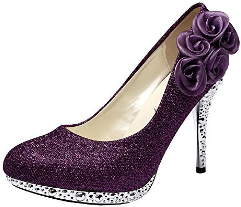 Getmorebeauty Women's pink Flower Crystal Glitter Wedding shoes