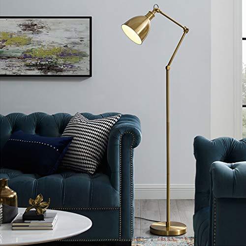 Ikea Led-vloerlamp met messing, draagbare staande lamp, roterende vloerlamp voor woonkamer, slaapkamer, kantoor, lounge, energiebesparende vloerlamp 405
