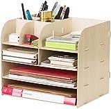 Organizer da scrivania in legno, con 4 scomparti, con cassetto, portadocumenti, porta riviste, multifunzione, per libri, giornali, riviste, penne, matite, fogli A4 beige
