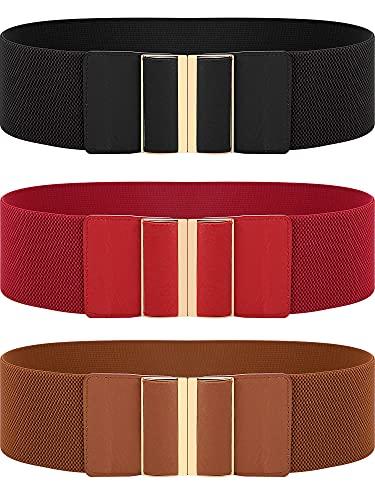 SATINIOR 3 Pieces Women Wide Belt Elastic Cinch Waistband Stretch Dress Belt for Ladies, Black, One Size