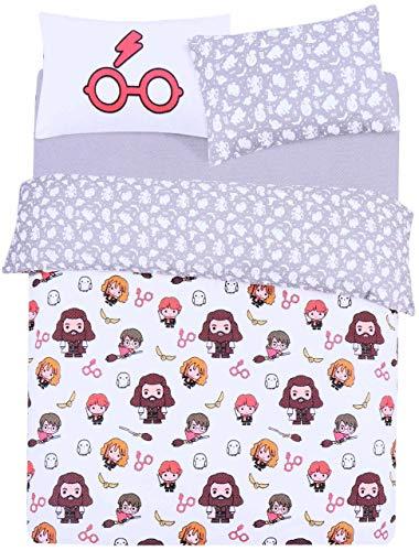 Vit/grå, dubbel storlek vändbart påslakan + 2 örngott sängkläder set Harry Potter