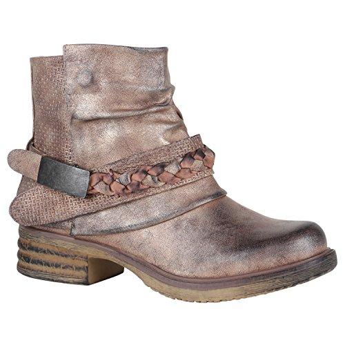 Damen Stiefeletten Biker Boots Nieten Schnallen Leder-Optik Schuhe 148776 Rose Gold Flechte 37 Flandell