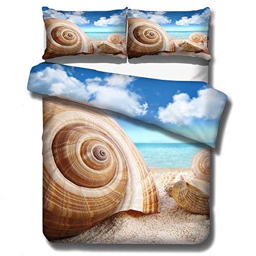 MOUPSDT 3D Printed Duvet Cover Blue yellow beach conch Double size Bedding Set Super Soft Microfiber 3 pcs 1 Duvet Cover 78.7 inch x 78.7 inch with 2 Pillow covers 50x75cm