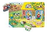 Goki- Puzzles de Madera Encaje con Dibujos Escondidos Granja, Multicolor (57805)
