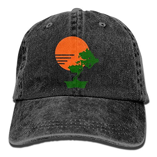 errterfte Sun & Bonsai Tree Denim Hat Men Cute Baseball Hat Personalized Hat Comfortable Adjustable