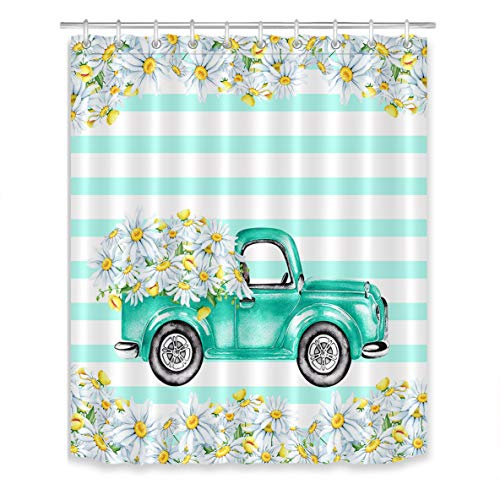 LB Vintage Truck Daisy Flower Shower Curtain Wild Floral Green White Stripe Fresh Design Farmhouse Shower Curtains for Bathroom with Hooks 60x72 inch Waterproof Polyester Fabric Bathroom Decorations
