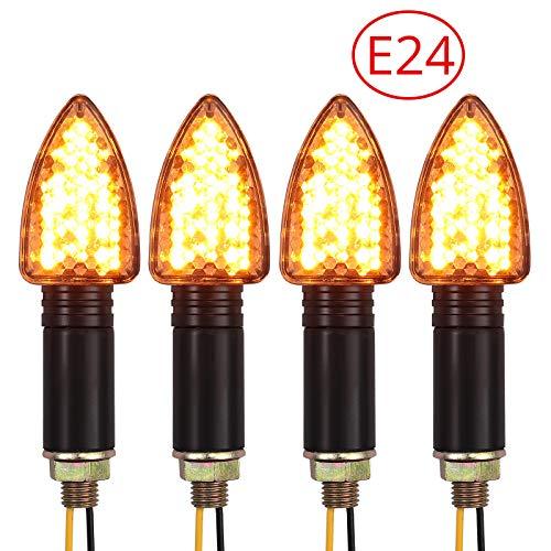 PROZOR Blinker Licht 4 Stück E-markierte wasserdichte Blinker Licht 15-LED Flexible Blinker Lampe Bernstein Blinker für Motorrad