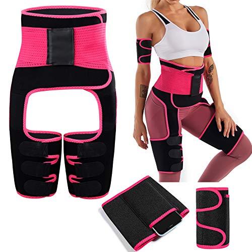 Unisoul Bauchweggürtel, 4 in 1 Bauchgürtel für Herren und Damen, Gürtel Fitnessgürtel, Fitness Gürtel zur Fettverbrennung Verstellbarer, Taille Trimmer, Abnehmen Waisttrainer Taillenformer