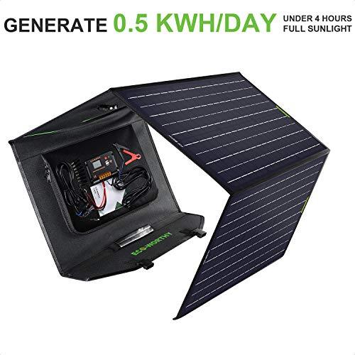 ECO-WORTHY 120 W faltbares Solarpanel-Set mit 20 A LCD-Laderegler für Suaoki/Jackery/Goal Zero Yeti/Rockpals tragbare Powerstation Generator/Batteriebank/Laptop USB-Geräte