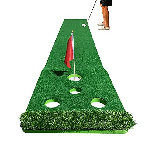 BILXXY Alfombra Verde para Putt de Golf, Juego de práctica de Golf para Interiores con 4 Orificios y 8 Bolas, Juegos de Entrenamiento en el hogar Plegables portátiles para Uso en el hogar
