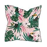 Alarge - Bufanda cuadrada de seda, diseño de flores tropicales y pájaros, protector solar, ligero y suave, bufandas, chal envolvente, para mujeres y niñas