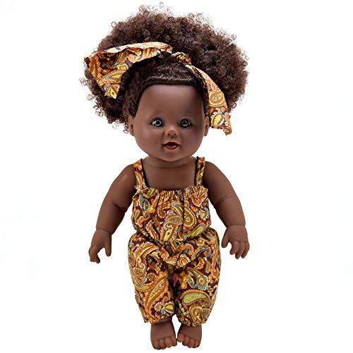 1PC African American Puppe Naturgetreue 12 Zoll-Baby-Spielpuppen mit lockiges Haar Braune Augen Baby Doll Zubehör für Kinder