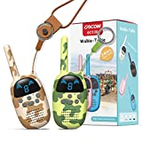 GOCOM Walkie Talkies for Kids, Kids Toys Handheld Child Gift Walky Talky, Two-Way Radio Boys & Girls Toys Age 3-12, for Indoor Outdoor Hiking Adventure Games (MC-GreenBrown)