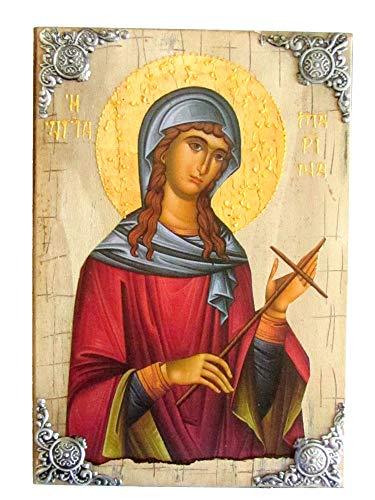 Icône en Bois Grecque chrétienne orthodoxe de Sainte Marina / P16