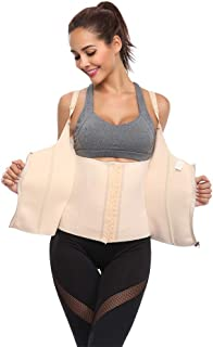 Dual-Closure Waist Trainer Corset, Latex Waist Shapewear Belly Band Belt Body Shaper Corset, Waist Trainer Corset for Weight Loss and Postpartum Support Slimming Recovery.