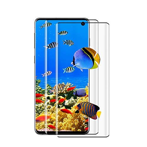 [2 Pièces] Verre Trempé pour Samsung Galaxy S10, [3D Incurvé] Protecteur d'Ecran, Compatible 3D Touch, Anti-Bulle, 9H Dureté, HD Protecteur d'Ecran pour Samsung S10 - Noir