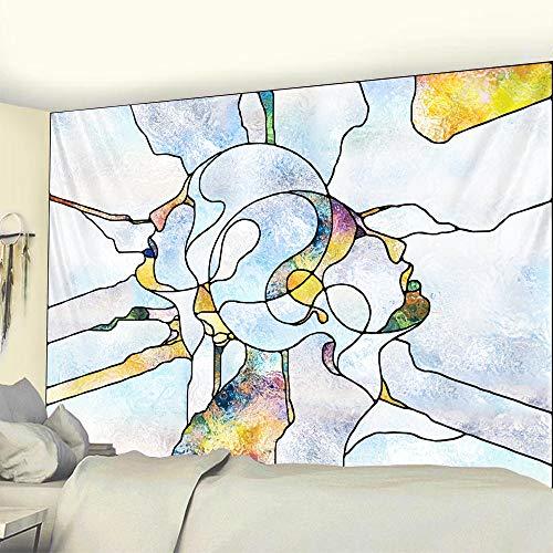 KHKJ Ligne de scène psychédélique Hommes et Femmes Art de la Maison décoration Mandala Tapisserie Hippie Bohême Feuille décorative Tapis de Yoga A4 95x73cm