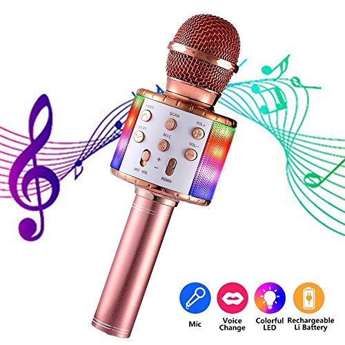 Draadloze karaokemicrofoon, AlfaView 4-in-1 draagbare Bluetooth-luidspreker met dansende led-verlichting, Home KTV-speler compatibel met Android- en iOS-apparaten voor feesten voor kinderen (Rose goud)