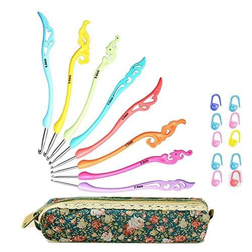 SODIAL Juego de ganchos de ganchillo retro Manejar de agarre ergonomico - Agujas de tejer crochet Kit de tejer en caja