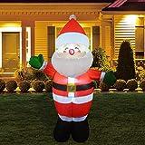 GOOSH 5Foot High Christmas Inflatable Blow up Green Hand Santa Yard Decoration, Indoor Outdoor Garden Christmas Decorations.