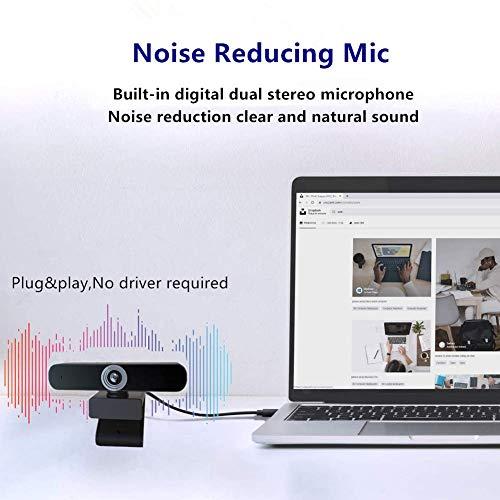Webcam 1080P con Microfono para PC,Webcam Full HD Camara Web con Cubierta y Trípode,Webcam USB Vista Gran Angular para Videollamadas,Conferencias,Grabación y Juegos miniatura