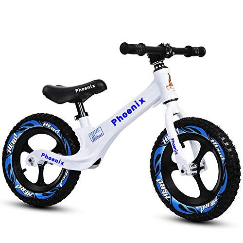 CBPE Kinderlaufrad Ab 2-6 Jahre, 12 Zoll Jungen Und Mädchen Laufrad, Leichtes Kinderrad Lauflernrad Höhenverstellbar,Weiß