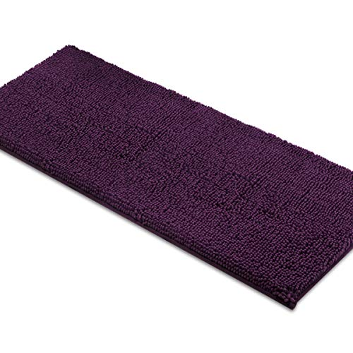 MAYSHINE Bath Mat Runners for Bathroom Rugs, Long Floor Mats, Extra Soft, Absorbent, Thickening Shaggy Microfiber, Machine-Washable, Perfect for Doormats,Tub, Shower (27.5x47 Inches, Plum)