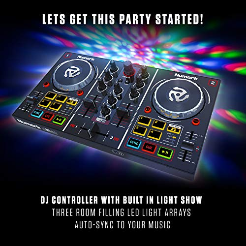 Numark Party Mix - Contrôleur DJ 2 Voies Plug-And-Play / Serato DJ Lite / Interface Audio...