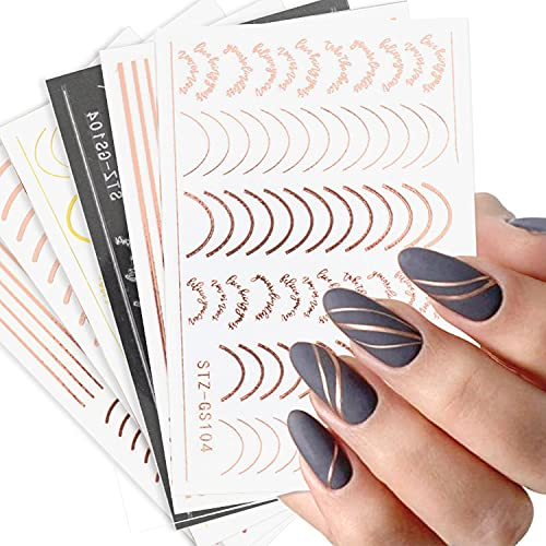 Line Nail Art Stickers Decals Metal Line Nail Supply Rose Gold 3D Self-Adhesive Nail Decals Metal Curve Stripe Lines Design Letter Nail Sticker Adhesive Decoration Foil Accessory (Stripes-6 Sheets)