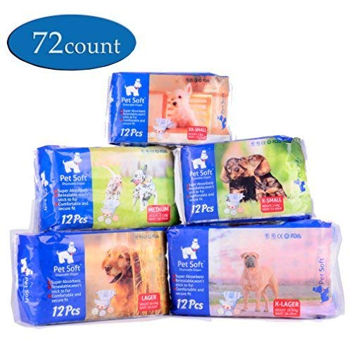 Pet Soft Pet Disposable Female Puppy Dog Diaper,72 Count, XS
