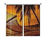 Cortinas plisadas con aislamiento térmico para playa, silueta de hamaca por el océano en la playa tropical en romántica puesta del sol junto al mar, para travesaños y rieles, color naranja