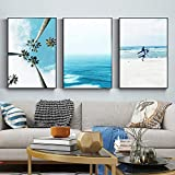 ZGZART Surf Beach Wall Art Canvas Painting Ocean Palm Turquoise Waves Tropical Summer Poster Gallery Wall Pictures Prints Decoración para el hogar - 40x60cmx3 (Sin Marco)
