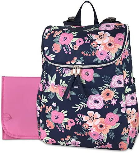 Multi Function Floral Diaper Backpack and Travel Nappy Baby Bag with Changing Pad and Stroller product image