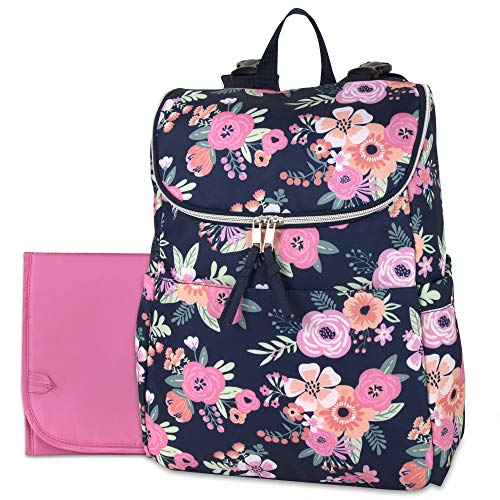Multi-Function Floral Diaper Backpack and Travel Nappy Baby Bag with Changing Pad and Stroller Straps (Blue Floral)