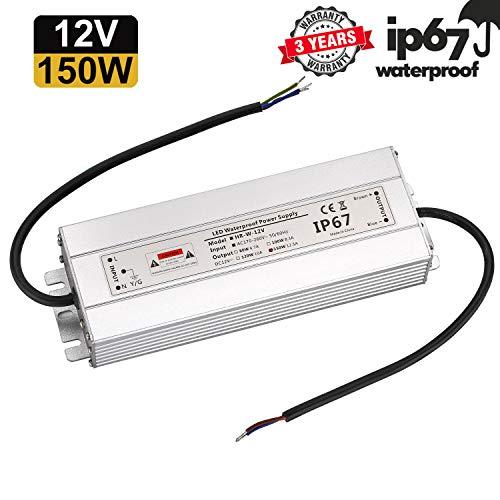 LED Trafo 12V 150W 12,5A IP67,geeignet für LED Stripes und Leuchtmittel,Upgrade Transformator Netzteil Driver 230V auf DC12V Wasserdicht