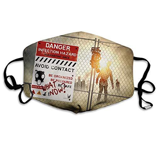 Bequeme Winddichte Maske, Zombie, Toter Mann, der in der dunklen Gefahr geht Furchterregende Szene Fiktion Halloween-Infektionsbild, rote Sepia